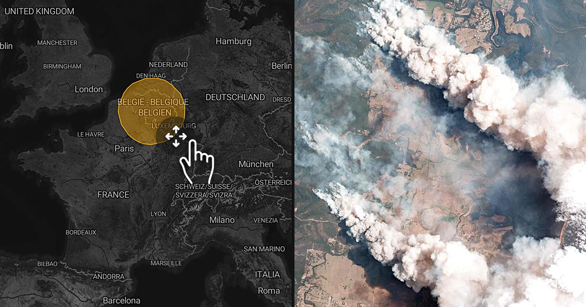 Feuer in Australien im Größenvergleich